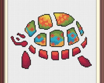 Turtle in Bright Colors Modern Colorful Counted Cross Stitch Pattern PDF Chart Instant Download Original Design in Red, Orange, Blue, Green