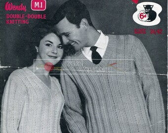 Unisex Sweater Super Chunky 34-42in Wendy 149 Vintage Knitting Pattern PDF instant download