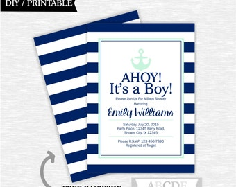 Mint and Navy Nautical Baby Shower invitation, Nautical Baby Shower DIY Printable (PDNSI004)