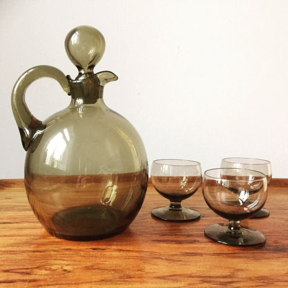 Swedish /decanter and 3 glasses/handblown Swedish glassworks/smokey glass/handblown/midcentury modern/Scandinavian