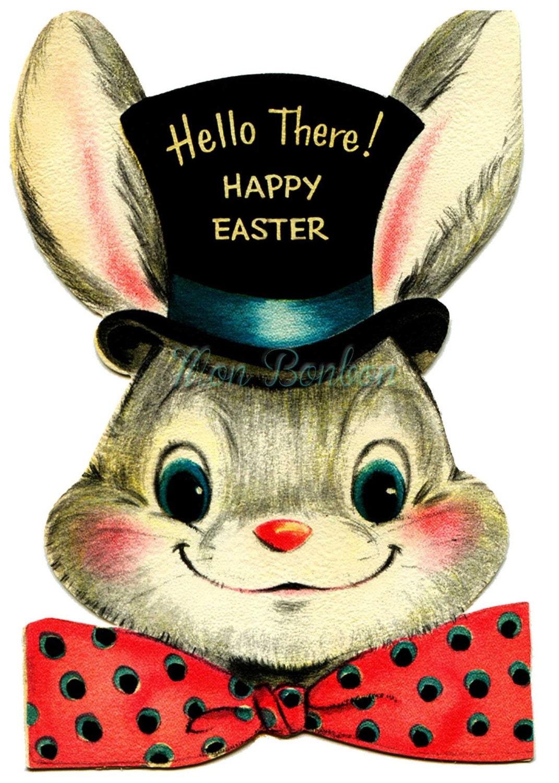 Vintage Easter Bunny Clip Art 4x6 Digital Clip Art Use For