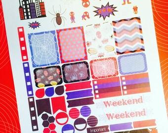 Spidey Weekly Planner Stickers Set, Erin Condren Life Planner, Happy Planner