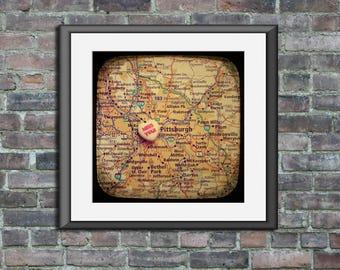 miss you pittsburgh candy heart map art ttv unframed photo print moving away housewarming graduation gift