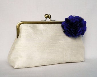 Ivory Bridal clutch, Ivory Silk Clutch Purse, Wedding Clutch, Ivory and Royal Purple Silk Clutch, Floral Silk Clutch,Bridesmaids Clutch