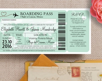 Boarding Pass Wedding Invitation in Pastel Mint Sage Green with Envelopes