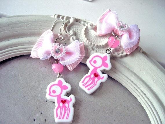 Kawaii Pink Fawn earrings Gothic Lolita