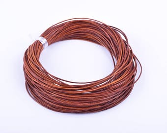 10 YARD Distressed/Natural Brown Color  Real Leather Cord Without Clasp Lobster 1.0mm