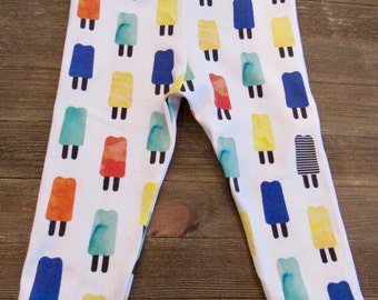 Watercolor Popsicles Baby/Toddler/Girls Leggings, Knot Headband, Modern Baby