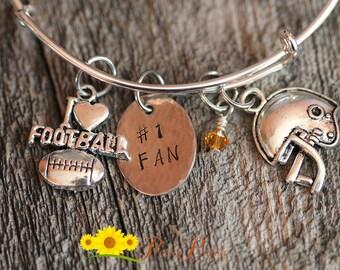 Football Bracelet, Football Mom Gifts, Custom Football Bracelet, Sports Bangle, Sports Bracelet, Football Charm Bracelet, Football Mom Gift