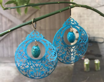 Mosaic Turquoise and Ombré Teal Patina Lace metal Filigree Earrings  Shabby Chic Patina Earrings  Green Chalcedony Briolettes  Earrings