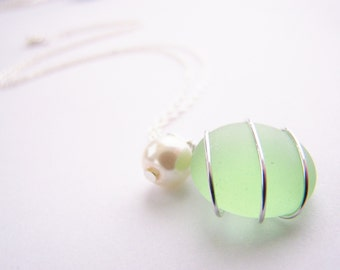 Seaglass Bridesmaids sets - Seafoam Green - Glass Pearl - Other Colors Available - Earrings available - Weddings - affordable - seaside