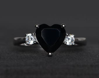 natural black spinel ring promise ring black gemstone ring heart cut gemstone