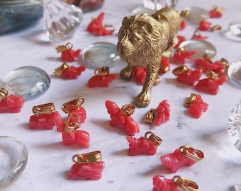 Red Coral Elephant Charms