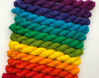 Brights Rainbow Full Pack Hand Dyed Superwash Merino Nylon Wool Yarn Colour Spectrum Mini Skeins 20g Semi Solid
