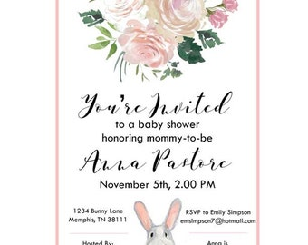 Bunny Themed Baby Shower/Bridal Shower Printable Invitations