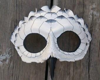 Leather Owl Mask / Snowy Owl mask / Animal Mask