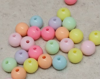 Pastel Acrylic Beads, Round Ball Beads, Plastic Beads, Solid Color Beads, Craft Supplies, DIY Supplies, Multicolored, 8 mm  - 100 Pcs