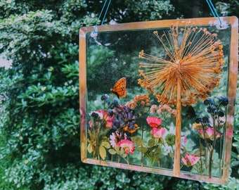 9x9 Square Resin Cast Window Hanging, Preserved Nature - Butterfly (naturally passed) + Botanical Specimens ~ Sun Catcher