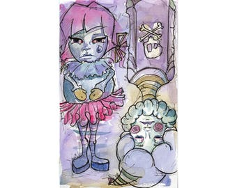 Original Aquarell - traurige Clowns Art by Ela Stahl - lila rosa seltsame anspruchslosen Illustrationskunst