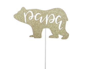 Papa Bear Father's Day Cake Topper- Any Color Glitter