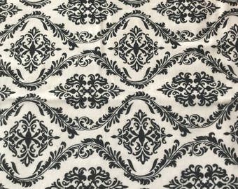 Black and white flannel damask fabric