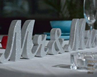 mr and mrs, mr and mrs sign, silver glitter