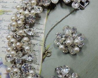 JULIANA Bracelet & Clip Earrings Set Rhinestone and Faux Pearl Cha Cha Style VERIFIED    OEO46