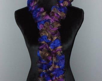 blue and purple ruffle scarf