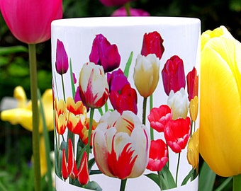 Mug: Tulip border, 11 ounce white ceramic mug, spring flowers, floral mug