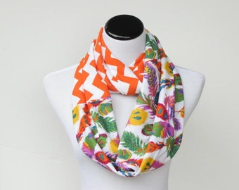 Feather chevron color block infinity scarf soft jersey knit scarf bohemian orange purple lilac green white autumn colors scarf- loop scarf