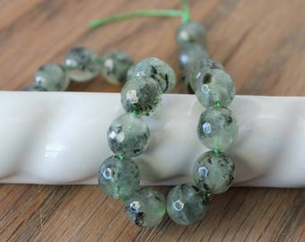Prehnite Faceted Round Beads. 10mm. 20 Beads. 7 1/2 Inch Strand. Natural Prehnite Semi Precious Gemstone Beads. Sage Green with Black. #554