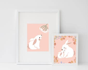 Set Bunnies Rabbit,Motherhood Love,Easter kids print,Bunny Love,Nursery Decor,Rabbit Family,Children's Art Print, mum and baby,mother bunny