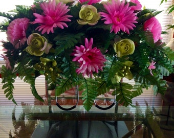 Etsy Pink and Green Cemetery Flowers   Etsy Mother's Day   Headstone Saddle Decorations   Wreaths on Etsy   Etsy Wreaths