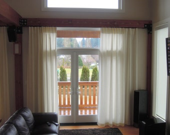 "74"" Width Organic Curtains, Hemp Curtain, Pocket Top or Flat Top Curtains, Window Coverings, Bliss"
