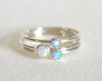 Set of Three Sterling Silver Opal Rings, Stacking Ring, Dainty Ring, Stackable Ring, Simple Ring, Light Blue Opal Ring