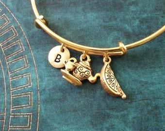 Teapot Bangle Bracelet Gold Teapot Bracelet Tea Jewelry Lemon Bracelet Stackable Bangle Adjustable Bangle Personalized Bangle Expandable