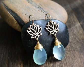Meditative Bliss Lotus flower and Chalcedony Dangle Earrings