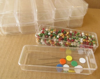 Bead storage boxes - Sewing storage boxes - Clear plastic beads organizer - Set of 10 boxes