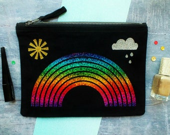 Rainbow Make Up Bag, Colourful Make Up Bag, Rainbow Gift, Cosmetic Bag, Makeup Bag, Make Up Pouch, Pride Gift, Gift For A Friend, Happy Gift