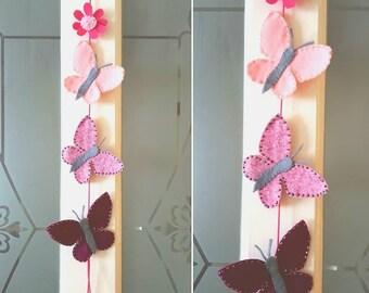 Handmade felt beaded butterfly hanging