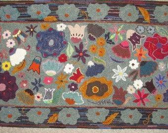 Wildflower rug, hand-hooked