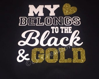 Custom Team Shirts My Heart Belongs to the Red and Black Gold Personalized School Team Name