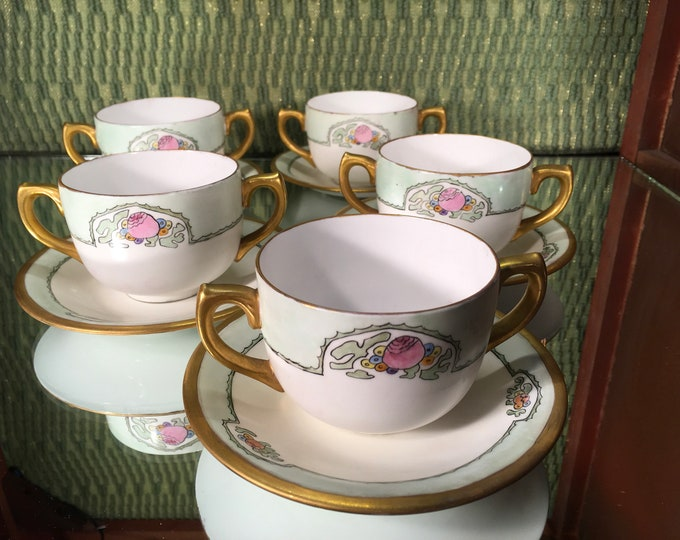 Set of Five Celebrate Floral Bullion Cups and Saucers, bone china, England
