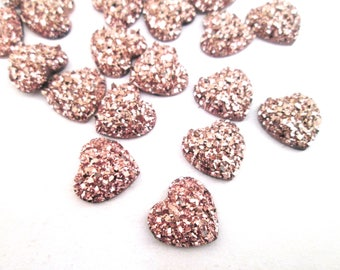 10 Rose Gold Heart Druzy Cabochons, 12mm druzy cabs H568