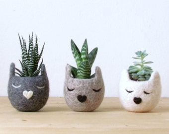 Succulent planter set | Cat planter, cat lover gift, cat lady, gift for her, coworker gift, cubicle decor, plant lady gift for mom
