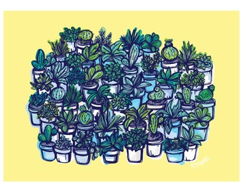 Plant and Succulent Lover Illustrated Art Print
