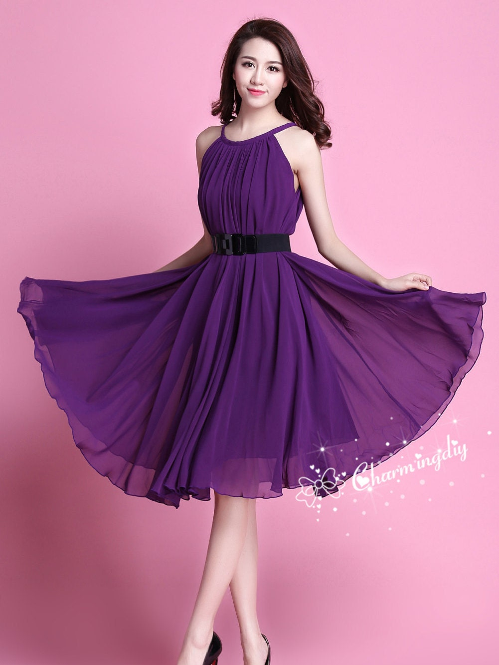 60 colors chiffon dark purple knee skirt party dress evening zoom ombrellifo Gallery