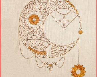 Embroidery file Steampunk-Crescent in 10 sizes, embroidery, embroidery motif