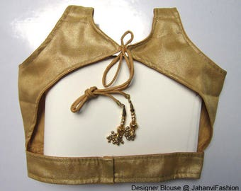 Readymade Golden Sleeveless saree blouse in brocade, embellished Sari blouse, available all Sizes - top blouse - Tops - Sari Top for women