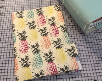 Foiled multicolor pineapple B6 Traveler's Notebook Dashboard Folder with Tabs fits Foxy Fix #5